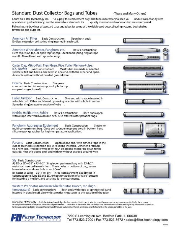 Filter Technology Standard dust collector bags and tubes