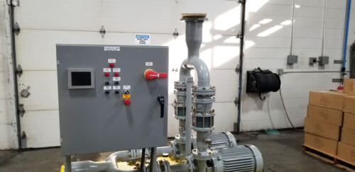 Custom waste water skid, control panel face